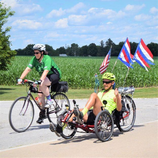 Fond summer memories on 2017 RAGBRAI, as this biker chick and dude ride across Iowa enjoying the scenery.