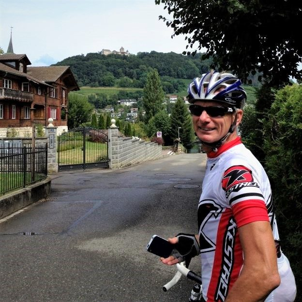 Steve taking a minute to enjoy the town of Stein Am Rhine on our way to Germany