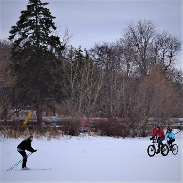 Here In the land of 10,000 lakes, in the Bold north, you will find bikers and  skiers alike out enjoying fun winter activities on the frozen ice.