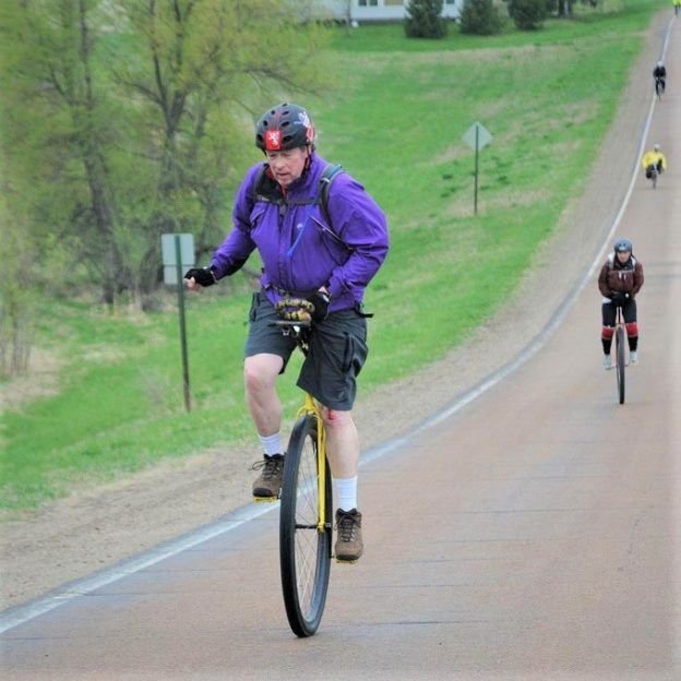 Fond spring time memories were enjoyed by this unicyclist at one of the past Minnesota Ironman Bike rides. We look forward to seeing him, his unicycling friends and you at one of this years rides.