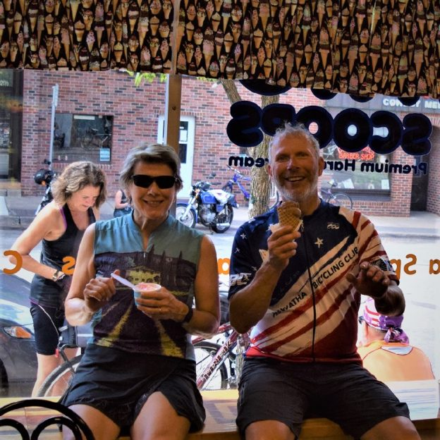 Its ice cream smiles Sunday around the world and here in the United States. Here at Two Scoops in Anoka, MN this biker couple enjoys a cool treat before continuing their ride around the Twin Cities Gateway (see maps).