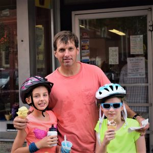 On this Sunday, #eight of 30 Days of Biking, we look back at warmer days when this bike dude and his two daughters enjoy a cool sweet treat.
