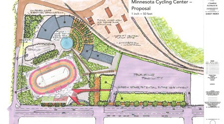 MN Cycling Center proposed site plan in Northeast Minneapolis.