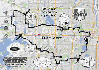 The 44 mile Tour D'Amico map