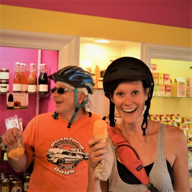On this ice cream smiles Sunday, we look back at these cyclists stopping along the Mississippi River Trail in La Crosse, WI  to enjoy a cool sweet treat.