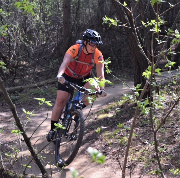 With the trees budding and trails soon opening its time to get ready for some spring fun! In a normal year, here is what the trail should look like. Last year at this time, we caught this biker chick enjoying some time testing her riding skills in Lebanon Hills Park, in Eagan, MN.