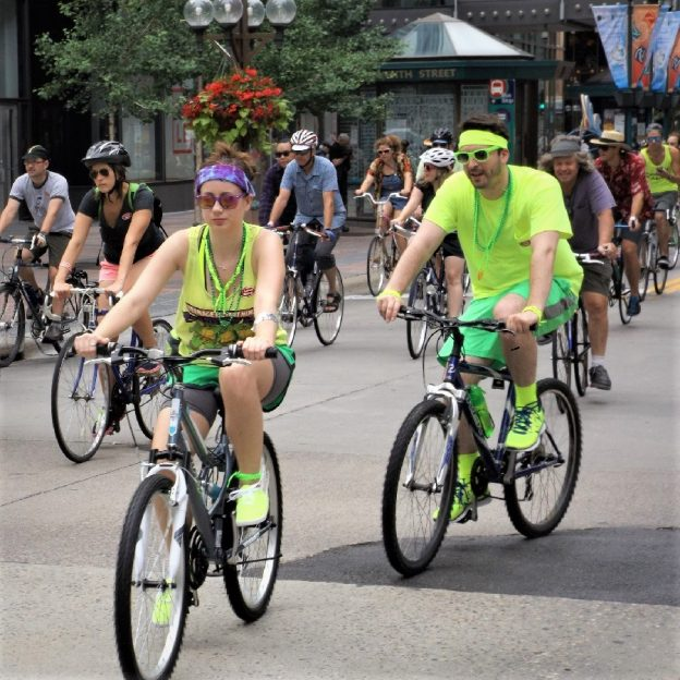 Soon everyone will enjoy bicycle outing as summer approaches for some fond memories. Here in this photo where cyclists, many in costume, parading down the Nicollet Mall in Downtown Minneapolis, on the Tour d' Fat.