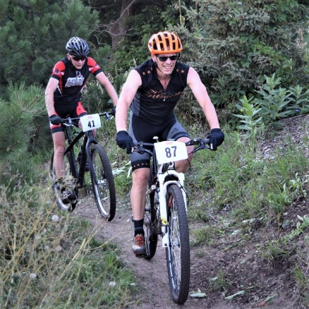 At the start of this Memorial Day Weekend these biker dudes have found some mountain biking fun. Here in this picture enjoy the trails at Buck Hill, in Burnesville MN, at Penn Cycles Thursday Night Races. What a fun way to start the Holiday!