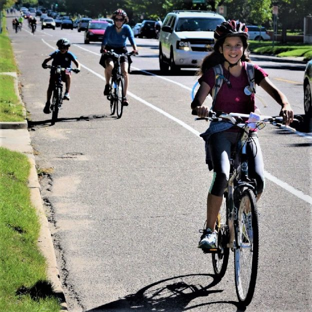 Here is today's bike pic on this beautiful Tuesday, with this young biker chick enjoying an outing riding in St Paul, Minnesota. along the Mississippi River Trail.