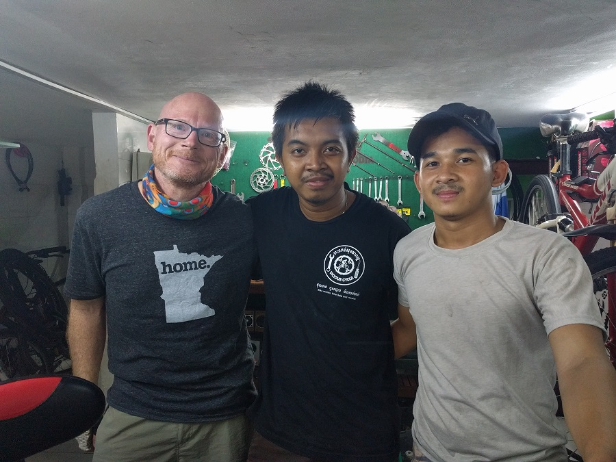 Stephan, Soporn and me at Vicious Cycle in Phenom Penh