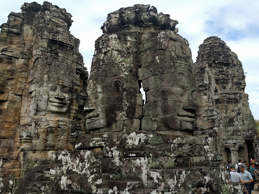 Smiling stone Buddhas at Ankgor WAt