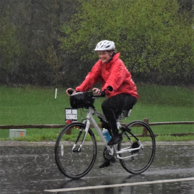A July Bike Pic, riding your bike in the rain can be fun if you have the right gear and attitude.
