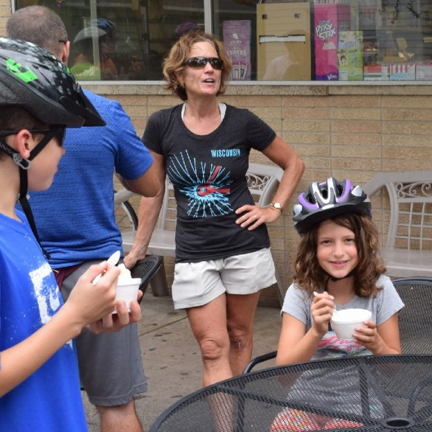 Family fun for everyone on the La Crosse Area Bicycle Festival ice cream tour.