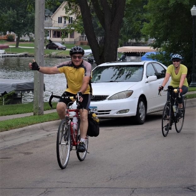 It's Friday's Bike Pic, so stay cool  and ride off on another weekend of fun, taking in that #nextbikeadventure. Here we caught this biker couple riding around Fountain Lake in Albert Lea, MN.