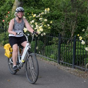 In our Saturday bike pic we c aught this Minnesota biker chick riding the canal routes in the Netherlands from Amsterdam to Bruges.