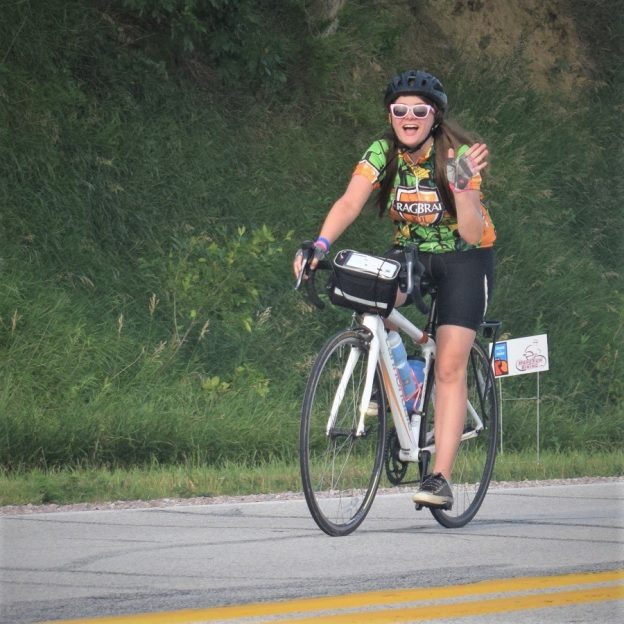 This Bike Pic Friday we are showing you another biker chick having fun and making memories, riding across Iowa a few weeks ago. Along the way it seems everyone had a good time. See more photos at RAGBRAI 2018.