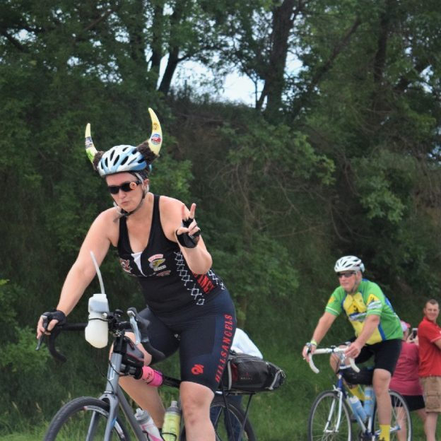 This Bike Pic Saturday we are showing you another biker chick proudly wearing here Vikings costume while riding across Iowa this summer. Along the way, it seems everyone had a good time. See more photos at RAGBRAI 2018.