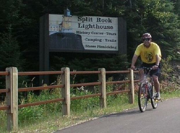Rider on Gitchi-Gami Trail as it winds through Split Rock Lighthouse State Park