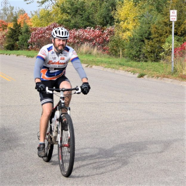 Here in this Bike Pic, we captured this biker dude riding to the mountain bike trail as the fall colors stats to appear.Discover all the fun bike events, Sept. 24th and continuing into October.