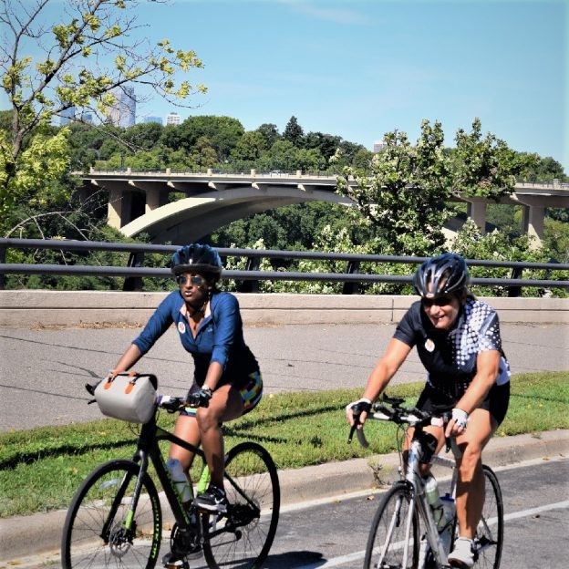 Happy Labor Day! Here in this Monday morning bike pic we captured a couple biker chicks riding the Mississippi River Trail (MRT). This picture was captured in St. Paul, MN, on the MRT. Same Route as the Saint Paul Classic Bicycle Tour coming this next weekend, September 9th.