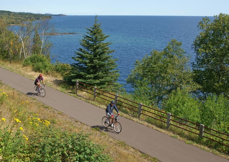 Riding along Lake Superior on the Gitchi Gami Trail.