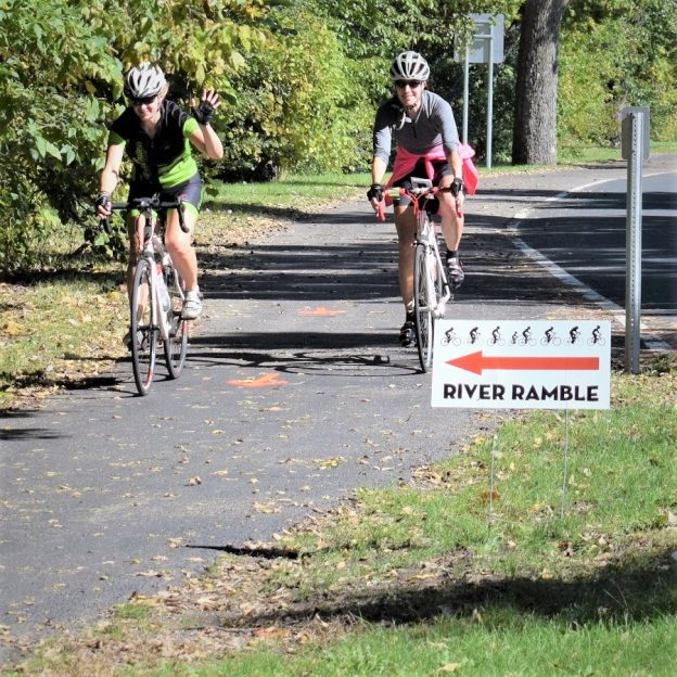 Here in this bike pic, we captured these two biker chicks having fun pedaling the trails around Mankato last year. This year's Ramble is this Sunday, October 7th