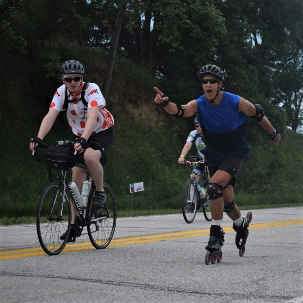 This Bike Pic Friday, digging through the summer archives we found this skater dude, out with his cycling buddies enjoying the Iowa countryside, on the ride across Iowa, RAGBRAI.