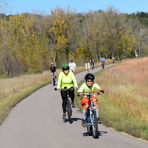 A bike pic to remember! This perfect fall weather day we caught this young biker dude out riding with his mom on one of the communities recreational trails in Mankato.