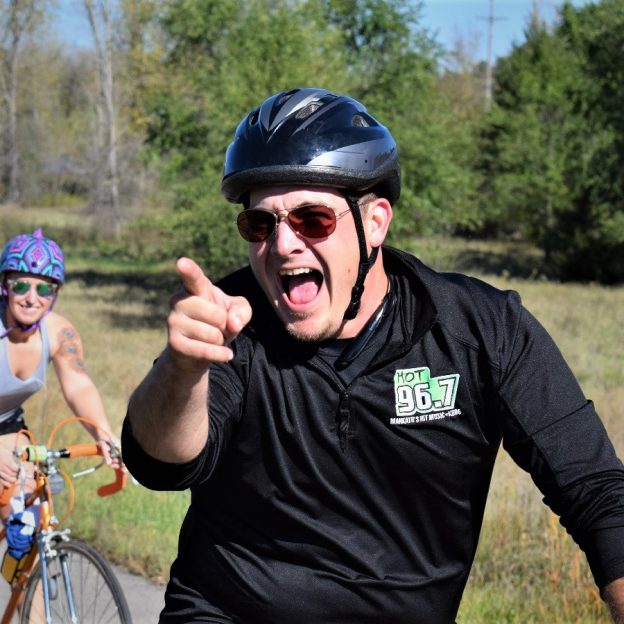 A bike pic to remember! This perfect fall weather day we caught to radio dude, in Mankato MN, out on one of the communities recreationaltrails. Not sure we know what he is upto, with his bike helmet secure, but it looks like he is having fun!