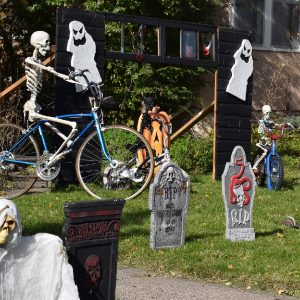 This bike pic Halloween, before the trick or treaters come around,put on your costume and take your bike for a spin around the neighborhood for some added fun.