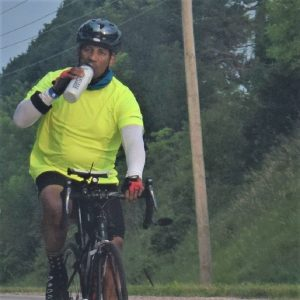 This Bike Pic Saturday we are showing you another biker dude riding across Iowa this last summer and remembering, regardlessof the air temp totake a swig of water periodically. See more photos atRAGBRAI 2018.