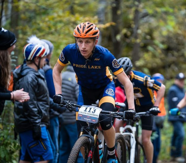 Calvin Sandberg, Prior Lake, Varsity Boys leads the hill climb | Whitetail Ridge 2018 | Photo Credit: tmbimages.com