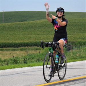 This Bike Pic Thursday, digging through the summer archives we found this biker chick enjoying the Iowa countryside, onRAGBRAI, while showing us her bandaged wrist from a previous injury.