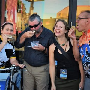 On this bike pic Sunday, we found this group of bikers enjoying a tasty sandwich treat on a stop at a local shop when riding around San Diego.