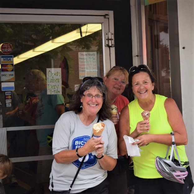 On this bike pic Sunday, digging through the archives, we found some biker chicks in heaven as they walk out of the ice cream shop after riding one of the many rides offered during the LaCrosse Bike Festival, over Labor Day Weekend.