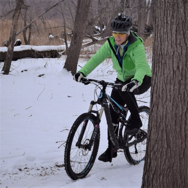 This Bike Pic Friday, we are celebrating the first day of winter where we caught this biker chick out in the Minnesota River bottoms in Bloomington, MN.