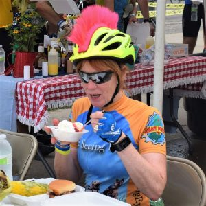 On this bike pic Sunday, we found this biker chick enjoying a tasty treat on a stop along the ride across Iowa on RAGBRAI.