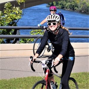 Here in this Monday's bike pic, looking through the archive, we captured this bike chick riding into the morning sun while pedaling along the Mississippi River Trail