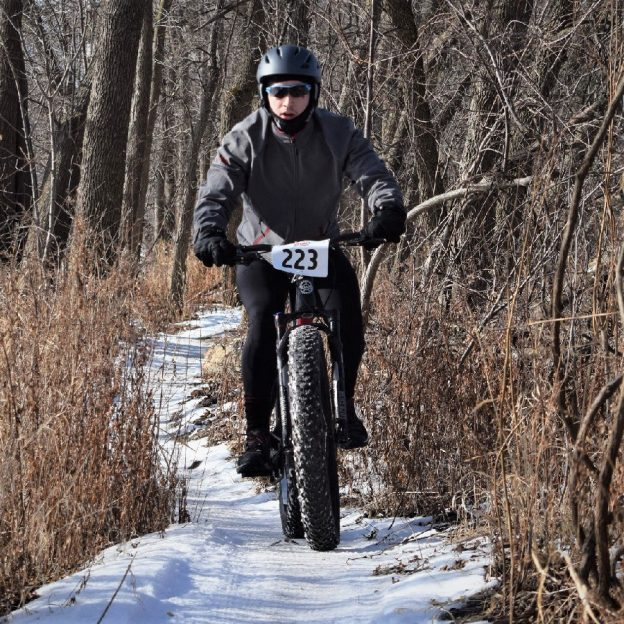 Today's bike pic, we found this biker dude riding the Minnesota River bottom trail near Bloomington, MN. Hope their bikes have studs with the icy conditions?