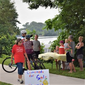 This Bike Pic Tuesday, digging through the archives, we caught these bikers stopping at a lemonadestand along Fountain Lake in Albert Lea, MN.