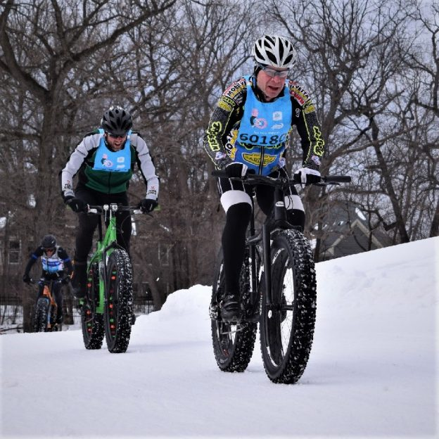 This Bike Pic Friday, with several inches of snow to cover the ice on the trail, having some fun. Maybe taking in a race?