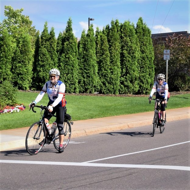 Today'sbike pic, we found this biker couple, in the HFB archives, riding the TourD' Amico 4th of July bike ride in the western suburbs of the Twin Cities.