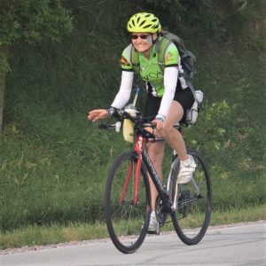 In this bike pic, looking through the summer archive. We found this bike chick riding across Iowa in the Monday morning sun. See more fun photo on the RAGBRAI 2018 website.