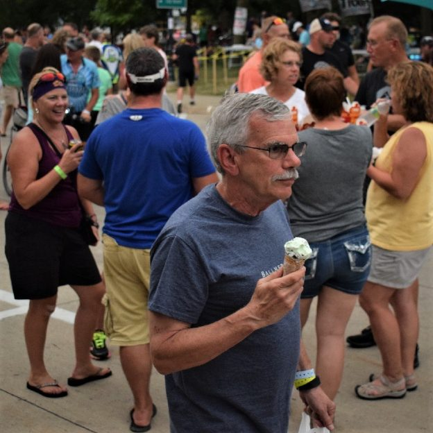 On this bike pic Sunday, we found this biker dude enjoying a tasty treat, on an overnight stop, on the ride across Iowa on RAGBRAI.