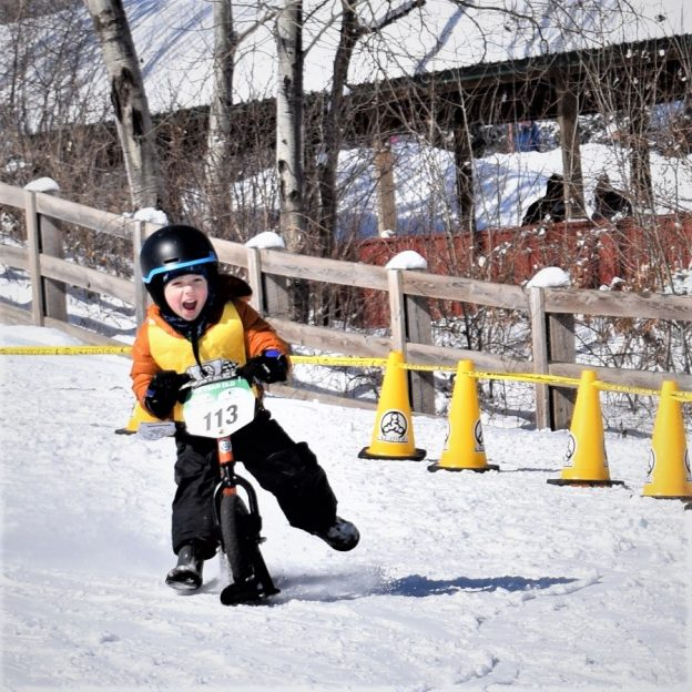 One of the coolest races that puts more kids on bikes. The Strider Snow Cup, with skis attached to the bike wheels, produces a lot of winners.