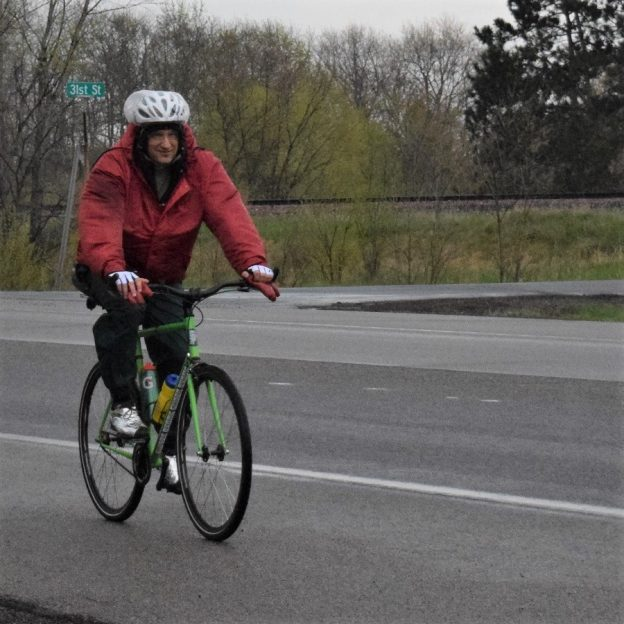 This bike pic Thursday, wearing rain gear will keep you dry with possible showers, so celebrate day-18 of 30-days of biking.