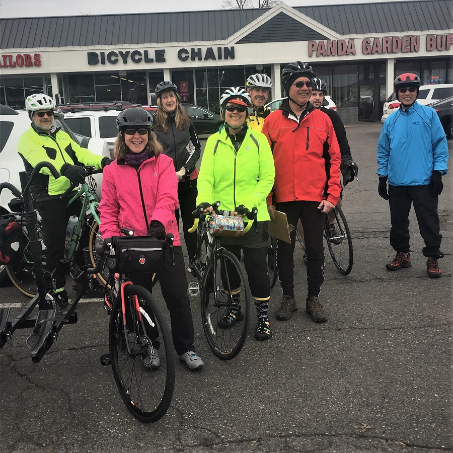 Participants on the HBC Progressive Ride I in Roseville leaving the Bicycle Chain Bike Shop