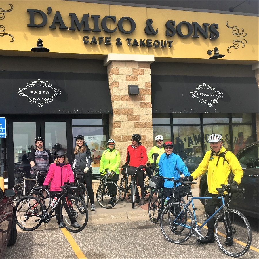 Riders on the HBC Progressive Ride I, in Roseville, leaving D' Amico's who provided some delicious snacks