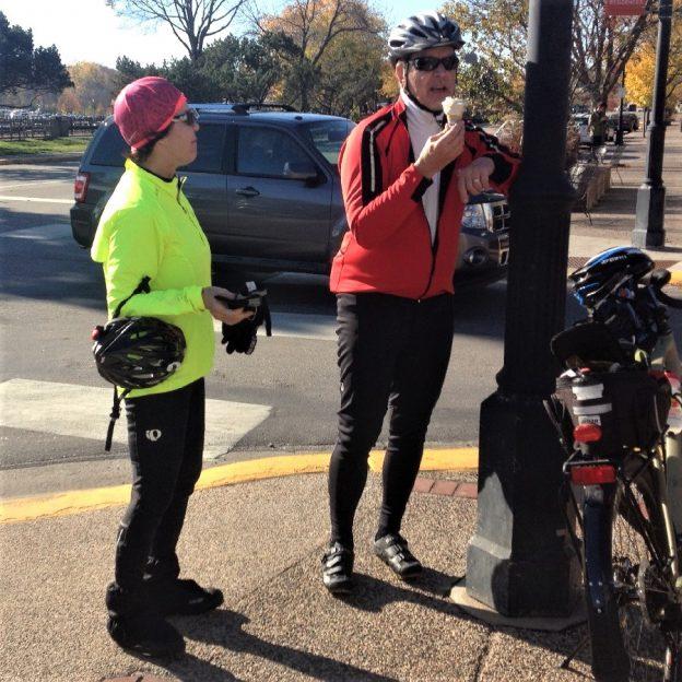 This ice cream smiles Sunday Bike Pic, on this fourteenth day of 30-days of biking, we caught this biker dude enjoying a sweet treat.