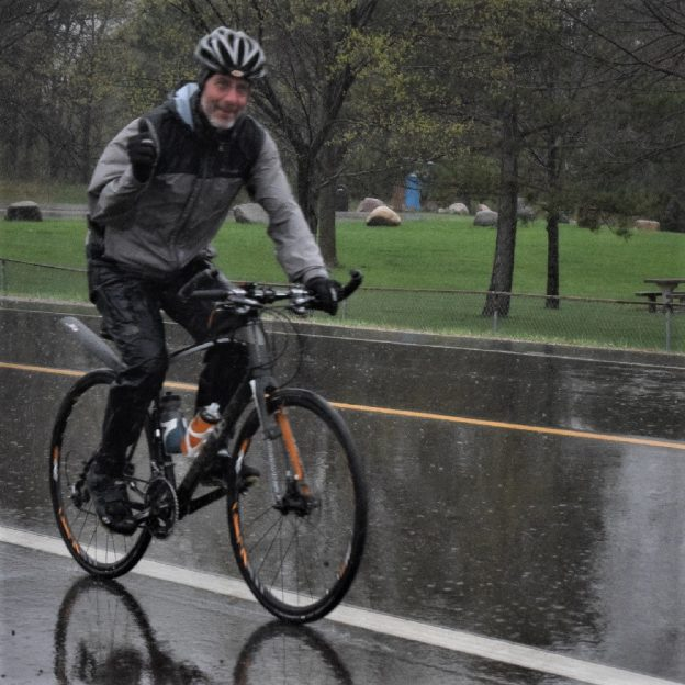 Todays Bike Pic demonstrates the benefits of having good rain gear along to stay dry and keep pedaling in the true north.